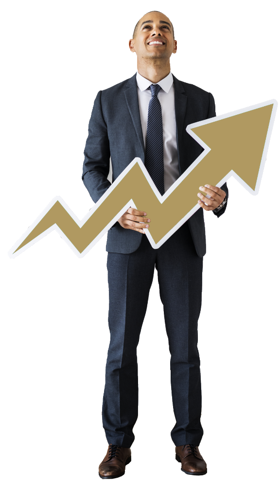 Businessman increasing graph